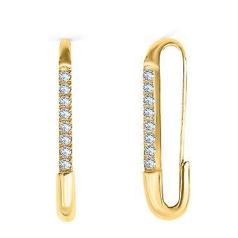 Boucles d'oreilles Safety Pin Simple 18K Or et Diamants