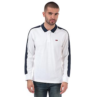 Men's Levis Long Sleeve Pieced Polo Shirt in White