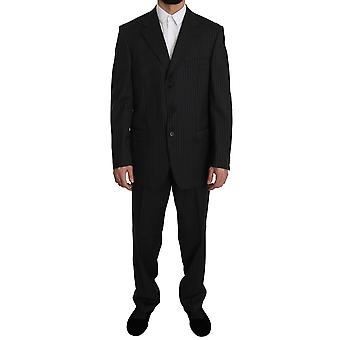 Z ZEGNA Black Striped Two Piece 3 Button 100% Wool Suit