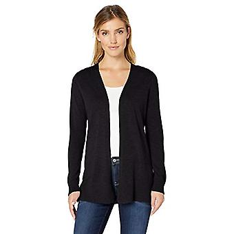 Essentials Women's Lightweight Open-Front Cardigan Sweater, Black, Medium