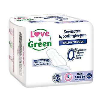 Love & Green Serviettes nuit hypoallergà © niques x10 10 units