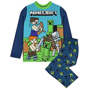 Minecraft Pyjamas For Boys | Kids Gamer T Shirt & Trousers PJs | Childrens Gaming Gifts Merchandise