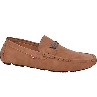 Duke D555 Mens Oakland Big Tall Wide Fit Slip On Deck Boat Moccasin Shoes - Tan