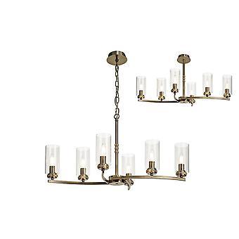Iluminación Luminosa - Colgante de techo, Semi Techo, 6 x E14, Latón Antiguo