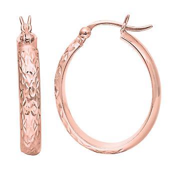 14k oro rosa brillante texturizado moda sparkle oval shape aro pendientes con colgantes de joyería de cierre para las mujeres