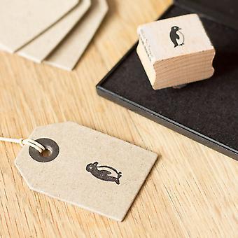 Liten pingvin trä monterad gummi craft stämpel