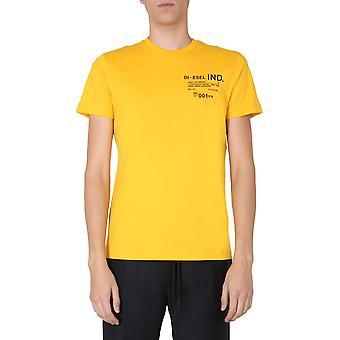 Diesel A008270hayu22k Men's Yellow Cotton T-shirt