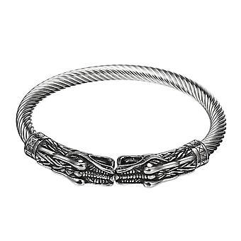 Vintage Double-Headed Dragon Bracelet Trendy Adjustable Stainless Steel Bracelet