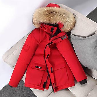 Winter Hooded Fur Collar, Windbreaker Outwear Gruby ciepły płaszcz
