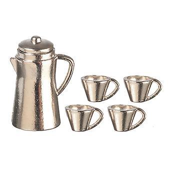 Dolls House Chrome Coffee Pot & Mugs Miniature Kitchen Accessory