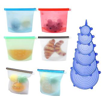 6 Pcs Reusable Silicone Food Storage Bags