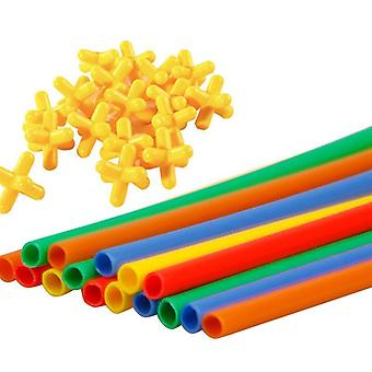 Diy Interlocking Plastic Straws And Connectors Set