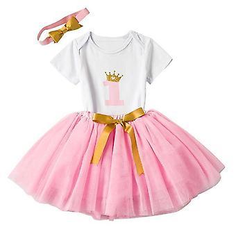 Mooie meisjes Romper Rok + Hoofdband Outfit , Design 8