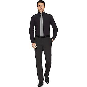BUTTONED أسفل الرجال & ق تناسب تناسب انتشار طوق الصلبة غير الحديد اللباس قميص, Bl ...