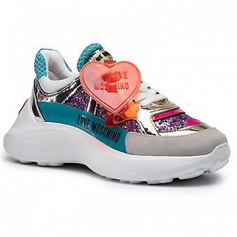 Sko Kvinne Kjærlighet Moschino Sneaker Bottom Kile Kjører Skinn Med Paljetter og Glitter D21mo01