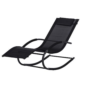 Ogród na bujane krzesło - czarny - 140x63x89 cm
