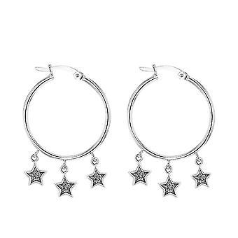 TJC Silver Stardust Stars Drop Hoop Earrings for Women Shinny Stamped Jewellery