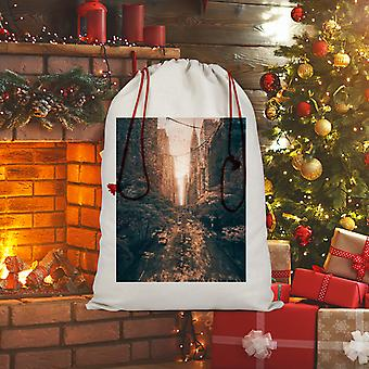 Tainted sublimation linen drawstring sack