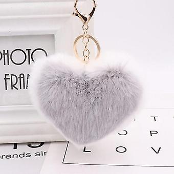 kjærlighet hjerte pompom ball plysj leketøy med nøkkelring, kvinner vesken bag sjarm, anheng,