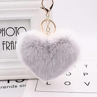 Love Heart Pompom Ball Plush Toy With Keychain, Women Purse Bag Charm, Pendant,