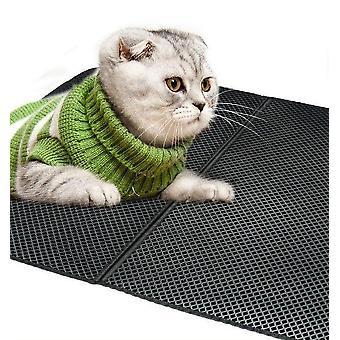 Tapete de ninhada de gato de camada dupla reutilizável preto