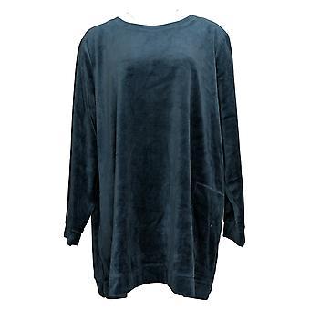 Denim & Co. Women's Sweatshirt Plus Velour Tunic Pockets Green A390299