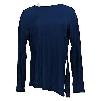 zuda Women's Top Long Sleeve Jersey With Side Slit Blue A374738