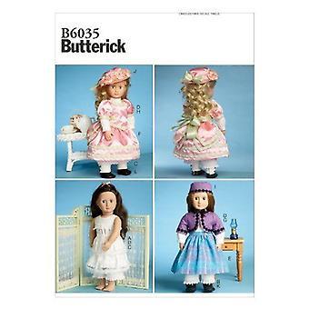 """Butterick Syning Mønster 6035 18 """"Doll Beklædning Slutningen af 1800-tallet Kjole Undertøj"""