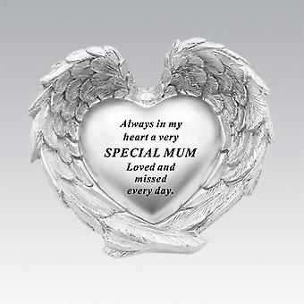 David Fischhoff Silver Heart In Wings Special Mum Remembrance Memorial Ornament