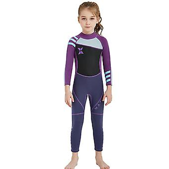 Kids wetsuit long sleeve one piece uv protection thermal swimsuit dfse-23