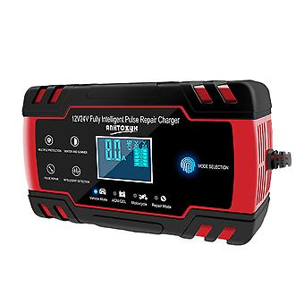 Full Automatic Car Battery Charger 12v 24v Smart Fast Power Charging Suitable For Car Motorcycle With  Plug (red)