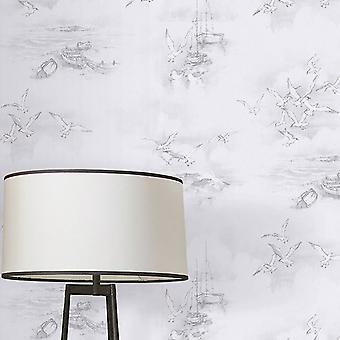 Global Fusion Seagulls Wallpaper Grey G56424