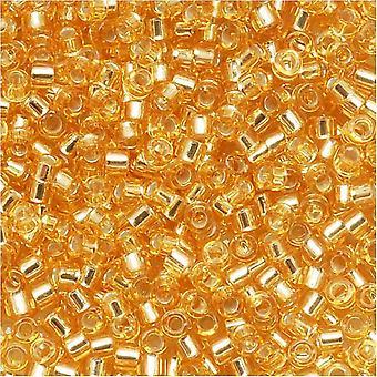 ميوكي ديليكا بذور الخرز، 15/0 الحجم، 4 غرام، الفضة اصطف الذهب DBS042