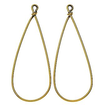 Nunn Design Wire Frame, Pear Drop 19.5x50.5mm, 1 paire, Antiqued Gold Plad