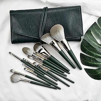 14 Pcs green cloud makeup brush set super soft powder brush
