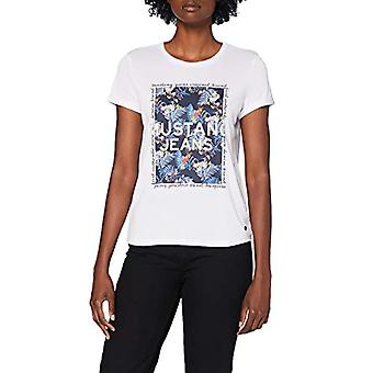 MUSTANG Alina C Print T-Shirt, White (Wei 2045), Medium Woman