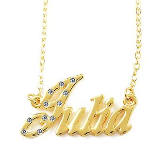KL Juliane - قلادة مع اسم مخصص، مطلية بالذهب عيار 18 قيراط، سلسلة قابلة للتعديل 16-19 سم، في صندوق الهدايا