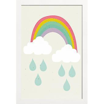 JUNIQE Print -  Happy Day - Kinderzimmer & Kunst für Kinder Poster in Blau & Bunt