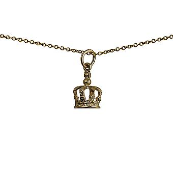 9ct Gold 12x8mm Royal Crown Pendant with a cable Chain 20 inches