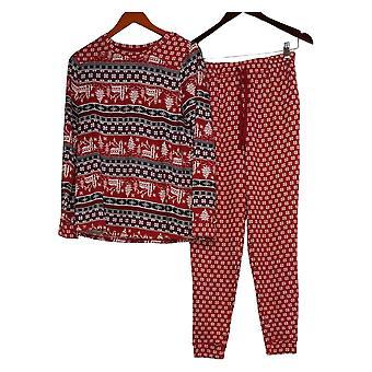 Cuddl Duds Kvinders Afterski Pyjamas Set Rød A381815