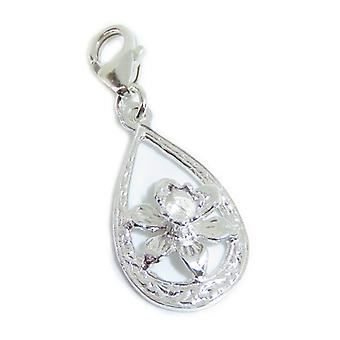 Daffodil Flower Clip Sterling Silver Charm .925 X 1 Flowers And Daffs Charms - 15411