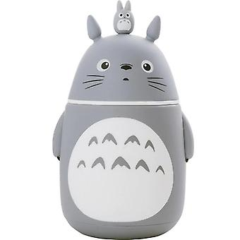 Creative Totoro Glass Water Bottles Double Heat Resisting Lovely My Neighbor Totoro (gray)