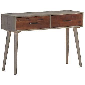 vidaXL Console Table Grey 110x35x75 cm Rough Mango Solid Wood