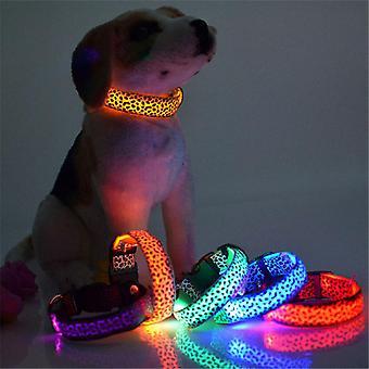 Lohill Leopard Print Led glødende hund krave lyse krave Nylon Bright Hund Krave