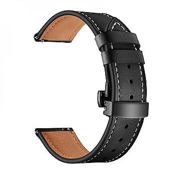 Leather Watchband With Metal Clasp For Samsung Galaxy Watch3 45mm/ Watch 46mm/ Gear S3