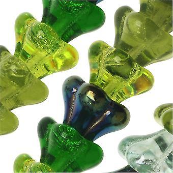 Czech Glass Beads, Flower 11x13mm, 50 Pieces, Evergreen Mix