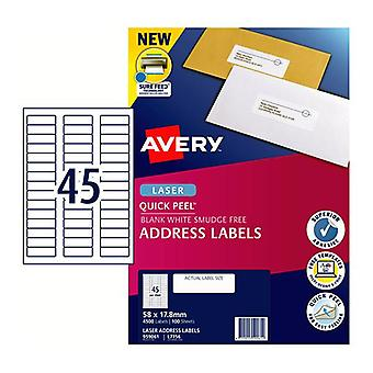 Avery Laser Label Qp L7156 45Up Pack Of 100