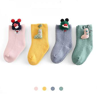 Non Slip 5 Pairs Warm Terry Socks For Baby Boys(M)