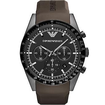Emporio Armani AR5986 goma marrón correa esfera negra Cronógrafo Sportivo reloj