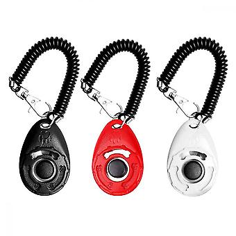 Dog Training Clickers, 3 Pcs Pet Training Clickers With Spring Rope For Training Animal Pups (black White Red)